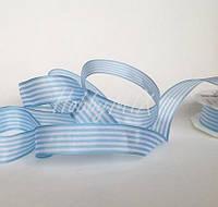 Лента полосатая бело-голубая 25 мм, фото 1