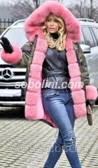 """Стильная парка-камуфляж с мехом финского песца красивого розового цвета """"Элинор"""""""
