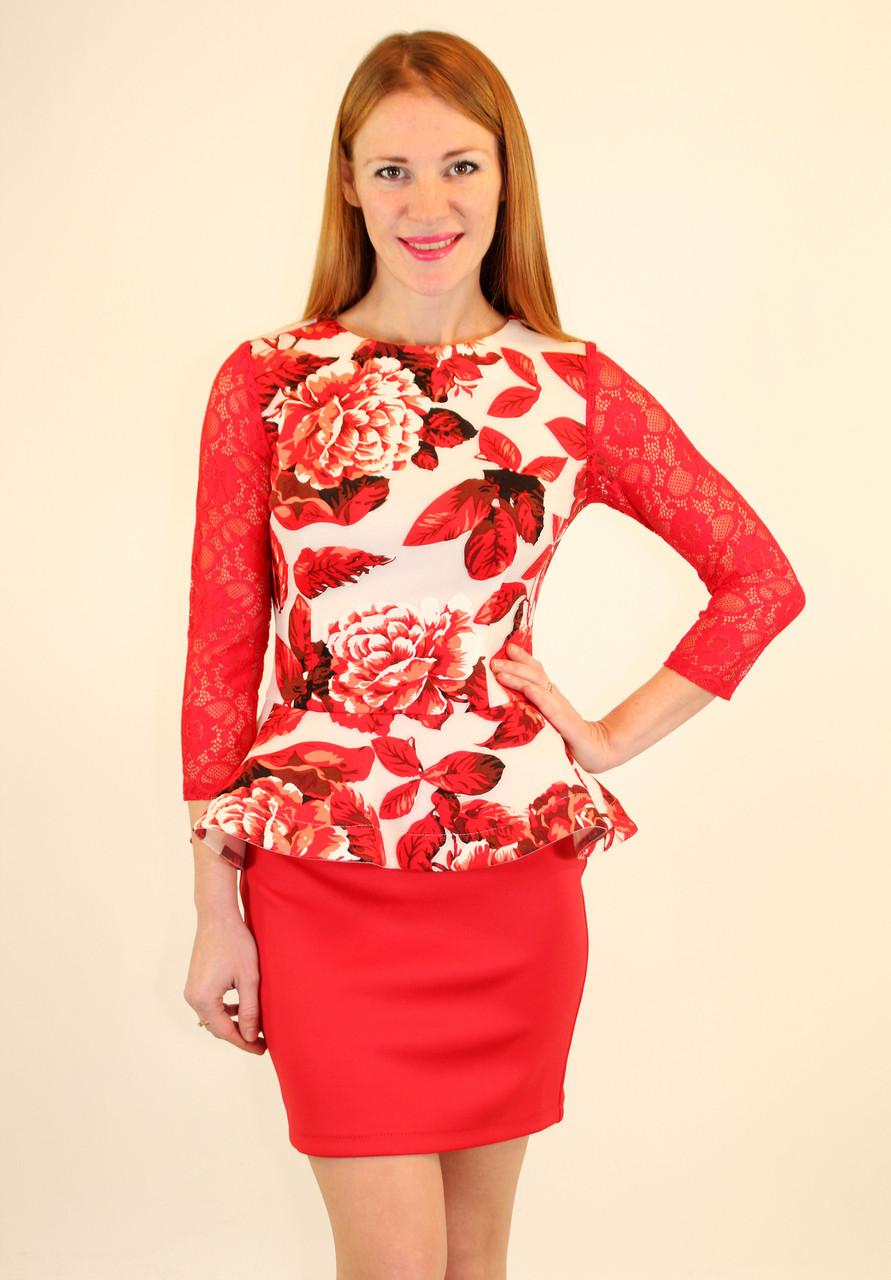 Платье с баской 42-48 р ( красный, электрик )
