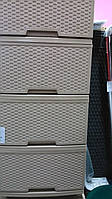 Комод пластиковый на 4 ящика с фасадами в стиле ротанг 395Х466Х955 мм Алеана KN-301