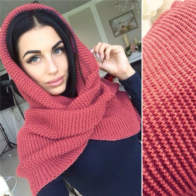 шарф хомут коралл вязаные шарфы снуд цена 265 грн купить в