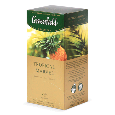Чай GREENFIELD Tropical Marvel (Чудо тропиков), зеленый с ананасом, 25 пак
