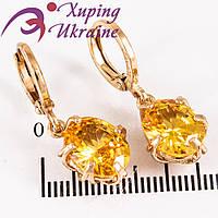 Серьги (кол.) лимонное золото Овальный янтарный камень в держ. (вис.)