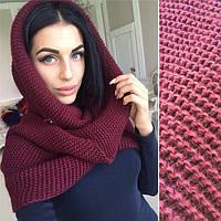 Шарф хомут  бордо , вязаные шарфы снуд