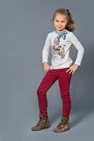 Теплые брюки-скинни для девочек с начесом (Бордо)