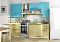 Перламутровая кухня на заказ изготовление, вариант-027 прямая двухцветная, фото 1