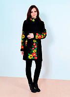 Превосходное женское пальто с вышитыми цветами