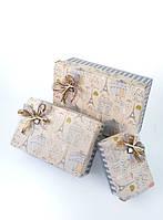 Прямоугольная подарочная коробка ручной работы в спокойном стиле и принтом Париж