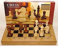 Шахматы, шашки, нарды, 3 в 1 бамбук, большие фигуры, артикул I5-48