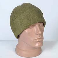Однотоная зимняя шапка из флиса цвета олива