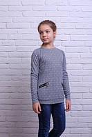 Кофта-туника для девочки Лабиринт с черным узором