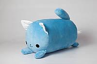 Мягкая игрушка подушка валик Strekoza Котенок Айси 39см голубой, фото 1