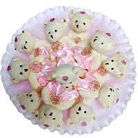 Букет из мягких игрушек Мишки розовый 11 игрушек