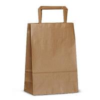 Крафт-пакет 18x08x25 коричневый с плоскими ручками