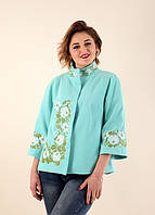Красивенное короткое расшитое пальто бирюзового цвета