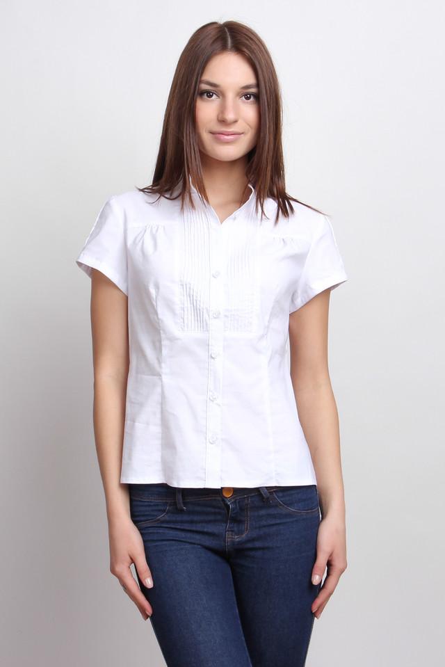 Блуза белая офисная с коротким рукавом, воротник-стойка Р101