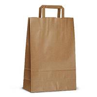 Крафт-пакет 23x10x32 коричневый с плоскими ручками