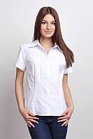 Блуза белая офисная с коротким рукавом, воротник - рубашечный Р101