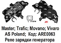Реле регулятор зарядки генератора Renault Master 2.5 DCi. Рено Мастер. Интегралка. AS Poland. Код: ARE0063