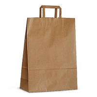 Крафт-пакет 26x11x38 коричневый с плоскими ручками
