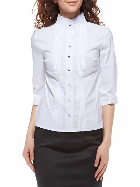 Блуза белая, воротник-стойка с рюшами Р104