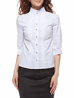 Блуза белая, воротник-стойка с рюшами Р104, фото 1