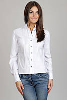Блуза белая, длинный рукав,воротник-стойка  Р104