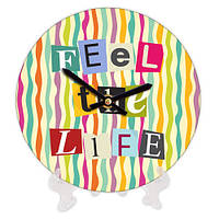 Часы настольные с принтом Feel the life 18 см