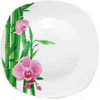 """Набор 6 квадратных подставных тарелок """"Бамбук и Орхидея розовая"""" Ø26см"""