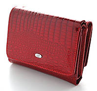 Женский кожаный кошелек ST складной маленький лаковый, фото 1