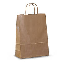 Крафт-пакет 26х11х34,5 коричневый с витыми ручками