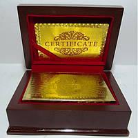 Карты игральные в сундучке, золотые 100 долларов