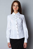 Блуза белая, длинный рукав, с бантиками Р106, фото 1
