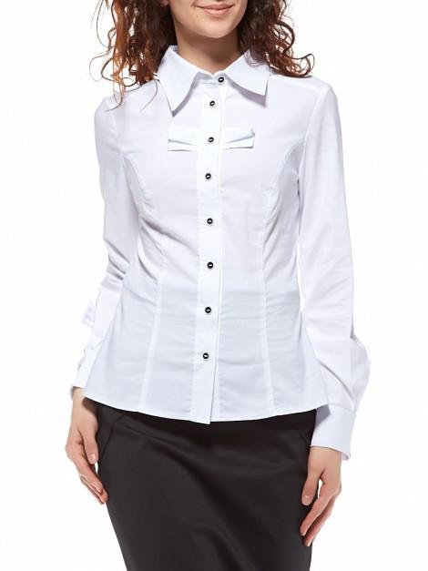 Блуза белая, длинный рукав, с бантиком Р106