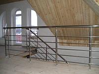 Лестница 2 с перилами из нержавейки
