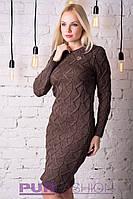 Вязаное платье ЗИГЗАГ 42-48р коричневый
