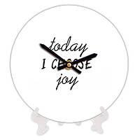 Круглые часы с принтом Сегодня я выбираю радость 18 см