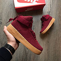 Кроссовки Nike Air Force 1 High Suede Red Maroon