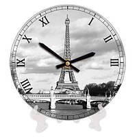 Часы круглые декоративные с принтом Париж 18 см