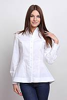 Блуза-туника белая, улиненная с баской Р109