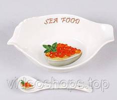 Икорница Bona Sea Food 16см с фарфоровой ложкой