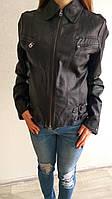 Весенняя курточка женская кожзам черная