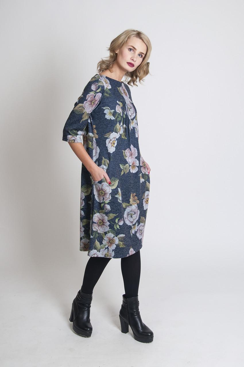 Платье трикотажное с карманами П57