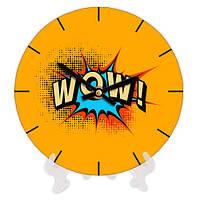 Часы круглые настенные с принтом Wow 18 см