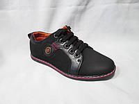 Детские туфли оптом, на плоской подошве, со шнурками, комбинированный кожзам+замш, черные с красной полосой