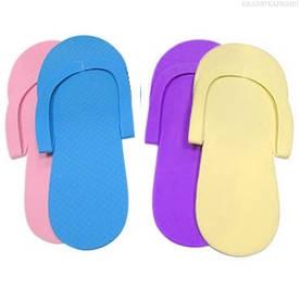 Тапочки одноразовые вьетнамки для педикюра/солярия (пенелон 2,5 мм, цветные)12 пар