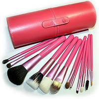Набор кистей для макияжа в розовом тубе 12 кистей