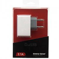 Сетевое зарядное устройство DualUSB 2.1A white
