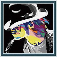 Картина 40х40 Майкл Джексон в шляпе. Рисование по номерам Идейка