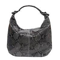 Женская  сумка из натуральной кожи фабричная (отшита  в Италии) серого лазерного цвета под змею
